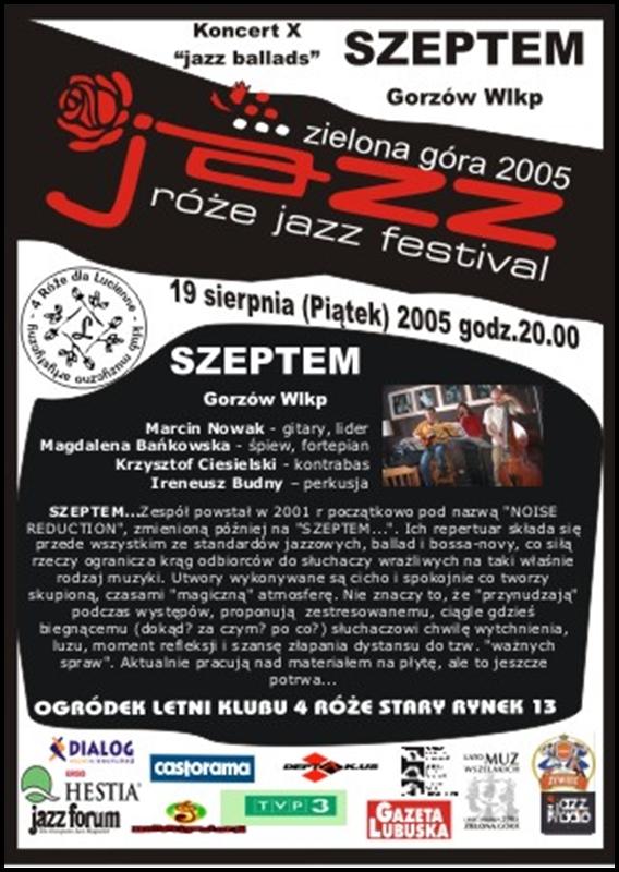 2005_08_19_Róże_Jazz_Festiwal_Plakat_Szeptem