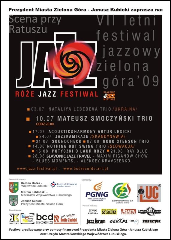 2009_07_10_Róże_Jazz_Festiwal_Plakat_Mateusz_Smoczyński_Trio_10_07