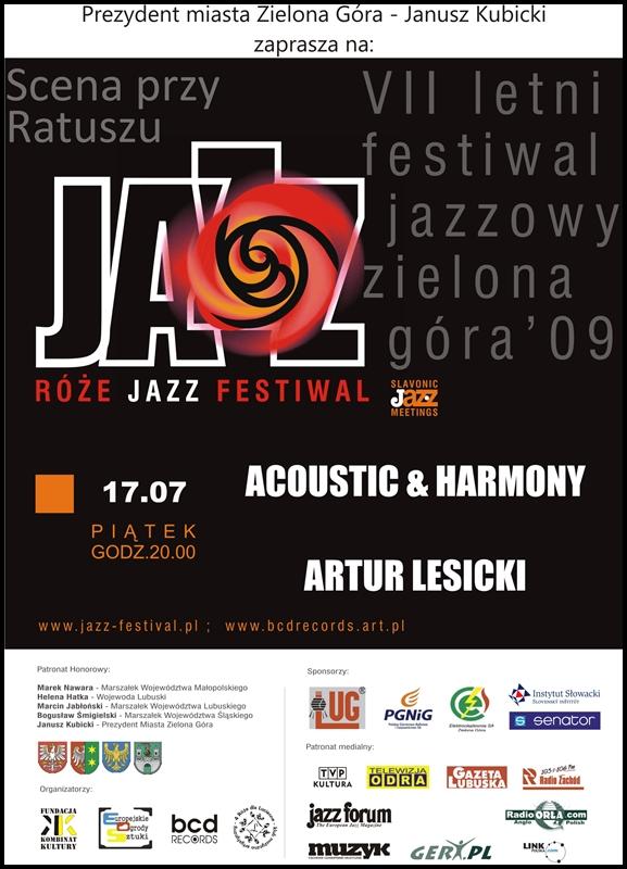 2009_07_17_Róże_Jazz_Festiwal_Plakat_ACOUSTIC_&_HARMONY_ARTUR_lESICKI