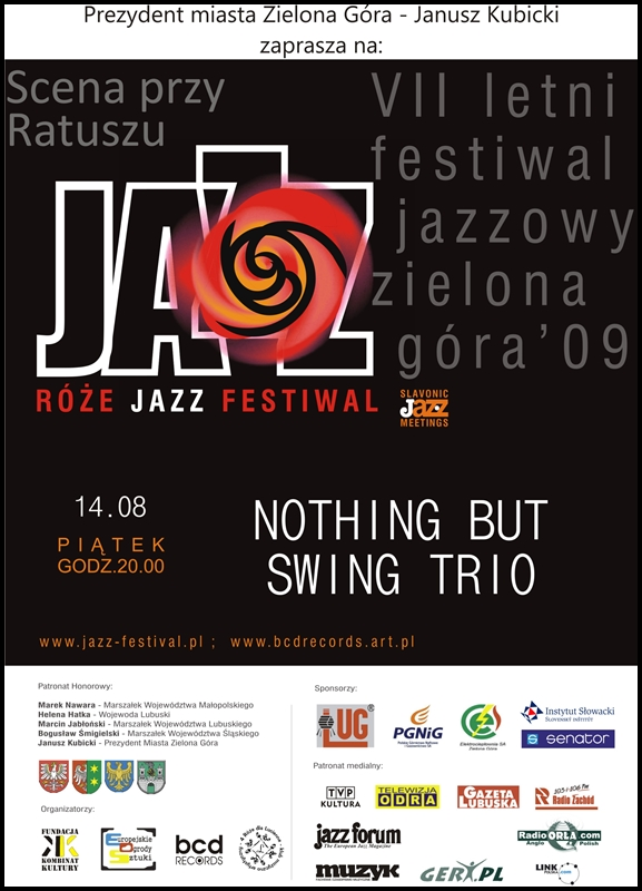 2009_08_14_Róże_Jazz_Festiwal_Plakat_NOTHING BUT_Swing_Trio_